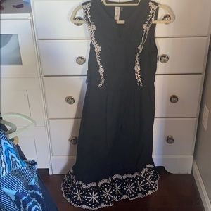 Black midi dress with white embroidery